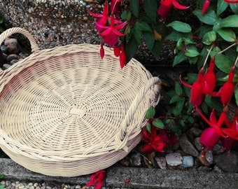 Wicker Basket-Woven Basket-Handmade-Naturel Tray-Round Tray-Tray With Handles