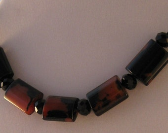 Large Black and Brown Marbled Design Beads Necklace on Leather Cord with Magnetic Clasp