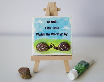 Snails, Pebble Art, Miniature Canvas, Pebble Picture, Mixed Media.