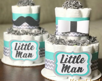 Little Man Gentleman Diaper Cake, Boy Teal Gray Bowtie Bow Tie Mustache Dapper Diaper Cake, Baby Shower Centerpiece, Baby Shower Decor Gift,