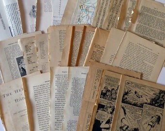Vintage ephemera paper pack, book pages, scrapbooking, mixed media