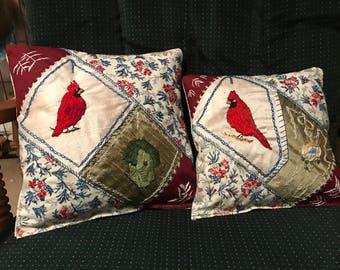Cardinal Crazy Quilt Pair Handmade Throw Pillows