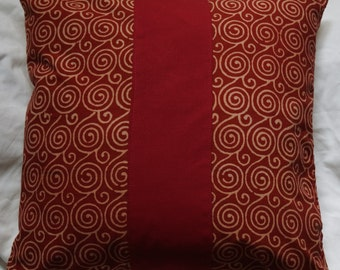 Punjab series 6: cushion, 40x40cm (16 x 16), Indian cotton printed traditionally, spiral, cotton ground red, beige cotton.
