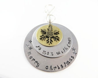 Hand stamped mom christmas ornament-------Sample - will custom make -