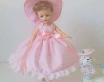 Little Miss Revlon Doll Dress.  Pink dress with white lace trim, pink ribbon accents, and matching hat.