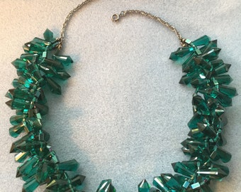 Chunky Teal Crystal Statement Necklace