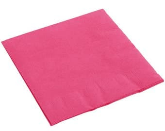 50-100 Hot Pink Beverage Disposable Napkin, Wedding Napkins, Napkins, Beverage Napkins, Wedding, Party, Wedding Supplies, Party Supplies