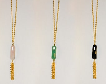 Necklace gold metal necklace, rose quartz, amazonite, or agate to pompon