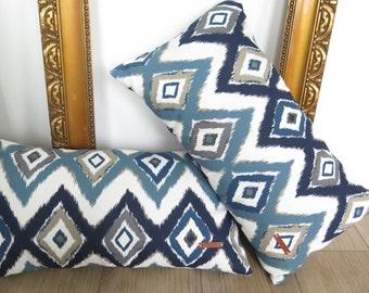 RECTANGULAR PILLOW, Rectangular cushion, Printed cushion, Printed pillow, Blue, White, Taupe, Leather, kussen, sierkussen, rechthoekig