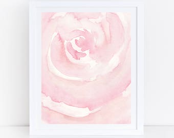 Blush Prints, Blush Pink Watercolor Art, Printable Watercolor, Blush Wall Art, Bedroom Wall Art, Abstract Art, Watercolor Flower, Pink Rose