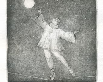 "Original etching ""Pierrot"""