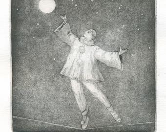 """Original etching """"Pierrot"""""""