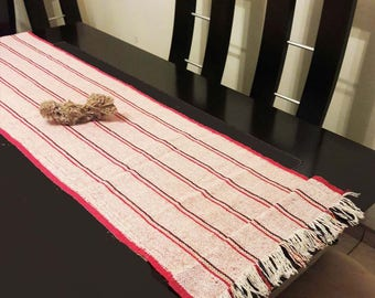 Mexican table runner, red rustic table runner, boho table runner, mexican fiesta table, bohemian table runner, ethnic table runner, jerga.