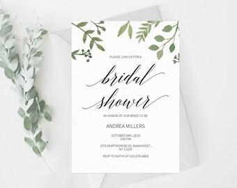 Bridal Shower Invitation Template, Rustic Bridal Shower Wedding Printable, Wedding Shower Template, Shower Invite,PDF Instant Download #E023