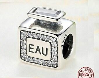 EAU de PARFUM Charm, 100% REAL 925 Sterling Silver, Fit Pandoar, European Snake Chain Bracelet, Authentic Fine Jewelry, DiY Jewelry