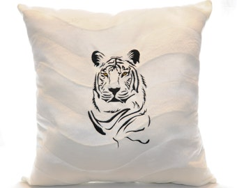 Embroidered White Tiger Pillow