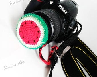 Lens cover for camera lens Photography Accessories Photographer Gifts camera lens cap lens cap leash photo accessories watermelon