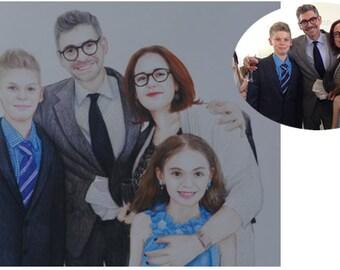 personalize portrait custom family portrait baby portrait personalize colored pencil drawing custom drawing realistic portrait