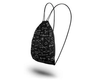 Cotton drawstring backpack gym bag Black PI