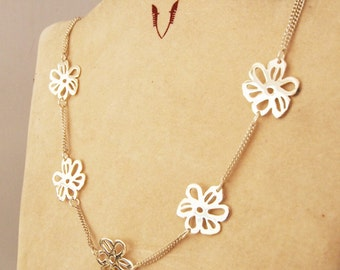 Double 925 sterling chain with flowers