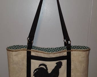 Lined Floral Canvas Chicken Tote Bag ~ Nice!