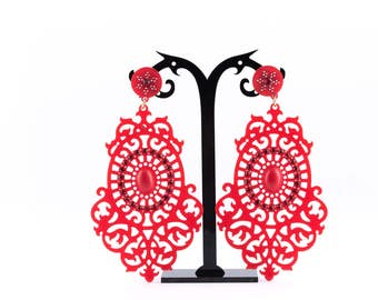 Central Asian Red Earrings