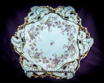 Ornate Reticulated Carl Tielsch Molded Serving Bowl (Alwasser, Germany) 1847-1890