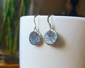 Handmade Petite Sterling Silver Hammered Planished Earrings