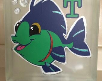 Glass Block Night Light - Fish