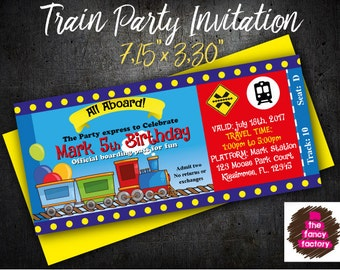 Train Party Birthday Invitation
