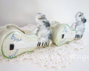 Set of 2 Vintage Ceramic Porcelain Elephants Figure Figurine on Guitars Toothpick Holder Small Planter Made in Japan Japanese