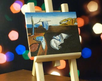 "Picture oil by Salvador Dali ""The Persistence of Memory"" (Mini Replica) + wooden easel"