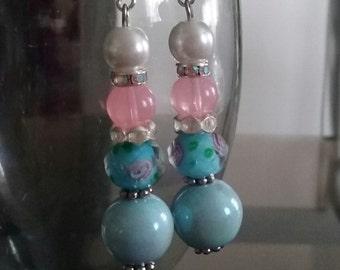 Boy Meets Girl Glass Dangle Bead Earrings
