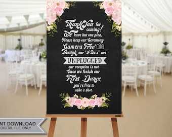 """UNPLUGGED Wedding Sign // 20""""x30""""  Unplugged Wedding Sign // Instant Download- No Waiting!"""