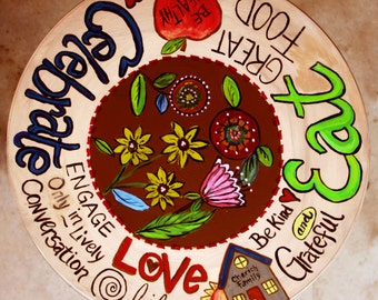 Hand-painted Lazy Susan, Turntable,  Centerpiece, Celebrate-Love-Eat