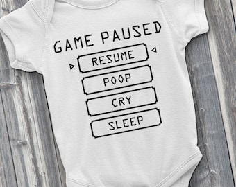 Baby Pause Menu, Gamer Onesie, Video Game Onesie, Gamer Baby, Funny Onesies, New Baby Gift, Baby Shower Gifts, New Mother Gifts, Gamer Gift