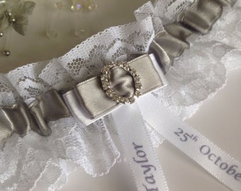 Personalised Wedding Garter, Silver - available in S/M