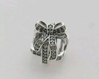SALE-All Wrapped Up Sterling Silver CZ  Charm/New/s925