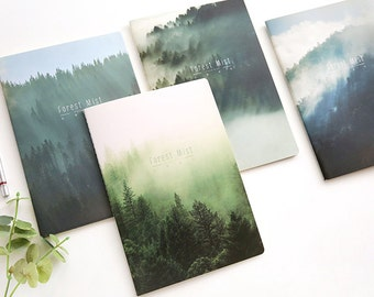 B5 Forest Mist Lined Notebook,Minimalist Notebook, Blank Notebook, Scenery, Travel, Planner Insert, Journal,Mist, Forest, Scenery,Green