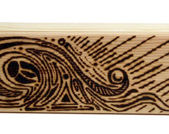 Small Woodburned Pencil Box