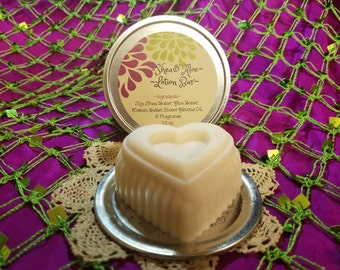 Shea & Aloe Butter Solid Heart Lotion Bar, 2.2 oz In Tin, Soy,Unrefined Shea Butter,Aloe Butter,Kokum Butter,Sweet Almond Oil,Coconut Oil