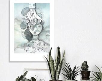 Illustration Art - woman whale blue