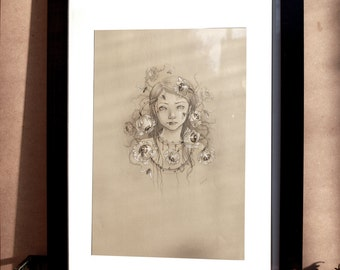 "drawing original valerie lenoir ""young girl with the Brambles"""