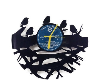 Sparrows Vinyl Clock