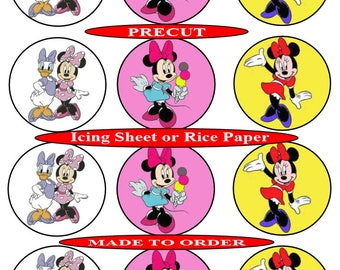Minnie Mouse (2) pre-cut edible  cupcake toppers, 2 sizes