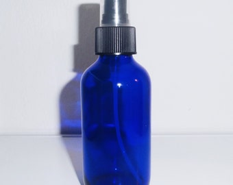 4 oz. Cobalt Blue Glass Bottle with Black Misting Spray Top *** For DIY Perfumes, Mists, Haircare, Skincare and Beauty Products ***