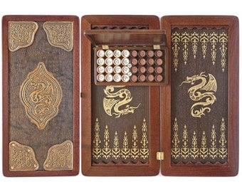 Gift for men Golden Dragon Backgammon set Wooden Backgammon Carved Backgammon Backgammon game Backgammon board Backgammon table game