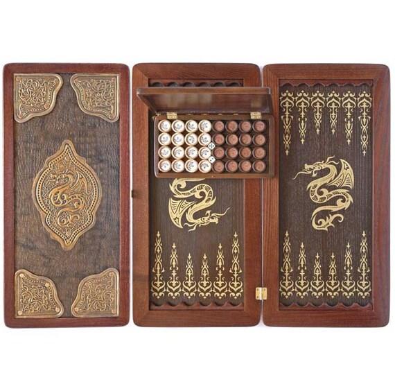 Gift for men golden dragon backgammon set wooden backgammon for Dragon gifts for men