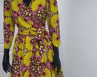 Print Wrap dress in african print