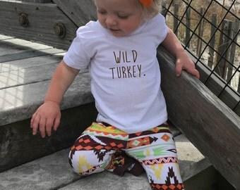 Wild Turkey,  Thanksgiving Toddler Shirt, girl shirts, Thanksgiving baby shirt, Thanksgiving Onesie®, baby girl, 1st Thanksgiving, New baby